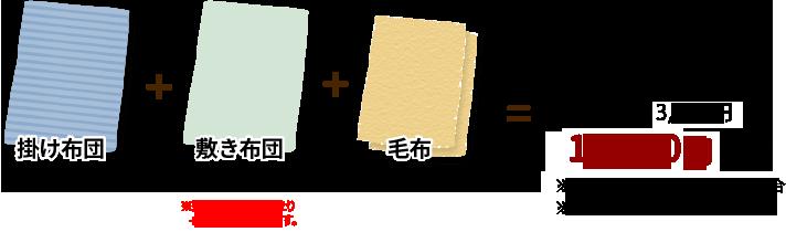 例)掛け布団1枚(1.0点)+敷き布団1枚(1.0点)+毛布2枚(0.5点×2)=合計3.0点(寝具3.0点パック)10,980円(税別)※保管無し・ゴールド会員の場合